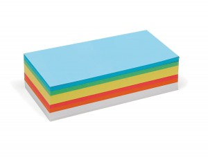 250 Rectangular Pin-It Cards, assorted colours